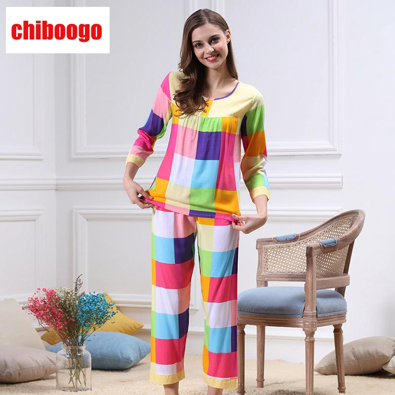0b5f6338e Wholesale- Summer Cotton Pajama Sets for Women Chothes+pant Suits ...