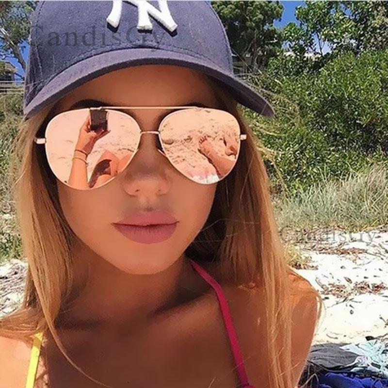 New Fashion Flat Lens Mirror Aviation Sunglasses Women Stylish Sun