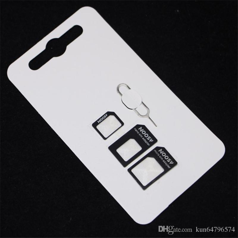 4in1 Noosy Nano Sim Adapter + Micro Sim Cards + Standard SIM Card Adapter for iPhone