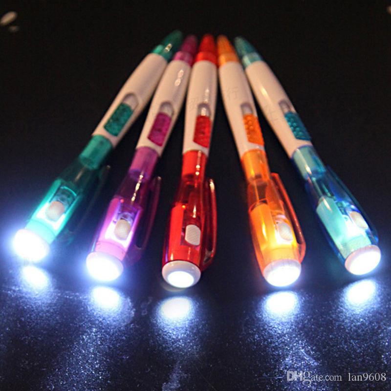 Led flashlight multi - purpose ball - point pen cute creative stationery new strange signature writing notes 3d light