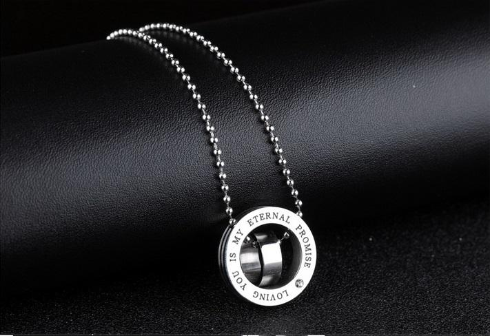 Regalo de Navidad * amantes de acero inoxidable 316L collar con cadena colgante joyerías de moda par collares coronas colgantes amor juramento