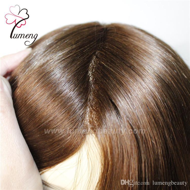 Venda quente remy parte do cabelo humano peruca para as mulheres brancas, nó invisível linha muito natural do cabelo peruca