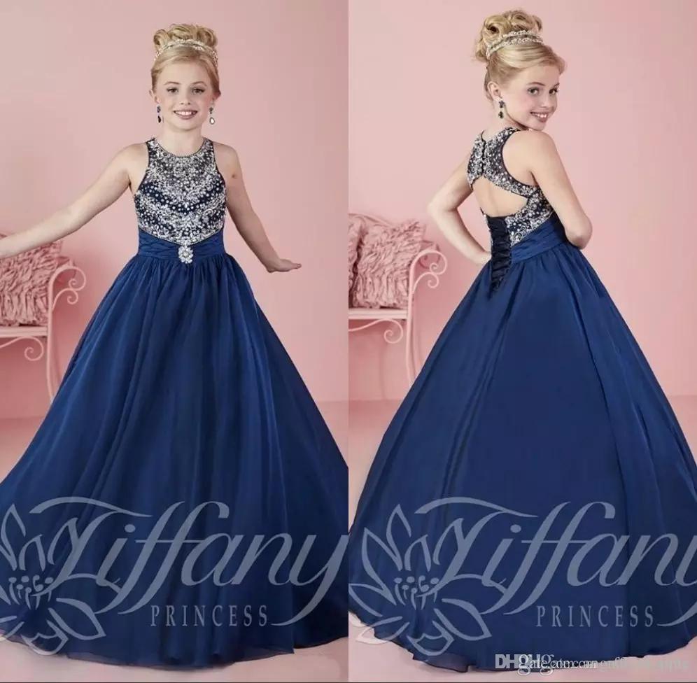Compre 2017 Azul Marino Glitz Desfile Vestidos Para Las Niñas Primer ...
