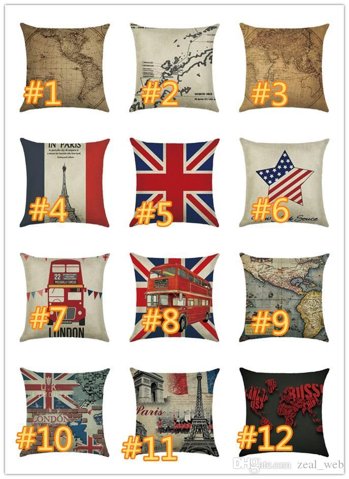 World Map Cushion Cover America Map national Flag of Europe Square Pillow Case for Sofa Home Decorative Pillow Red Car of London (7)