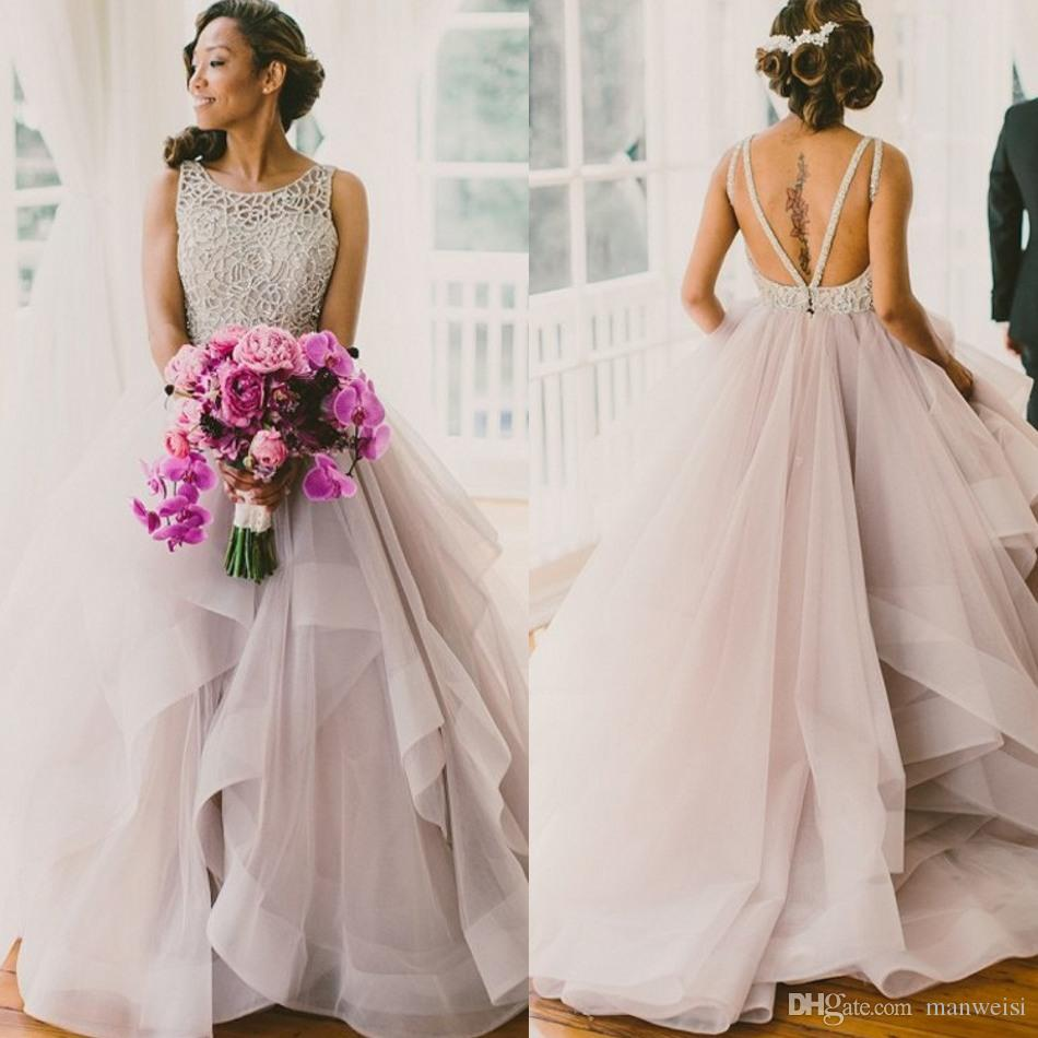 Classy Blush Tulle Ball Gown Wedding Dresses 2017 Beaded