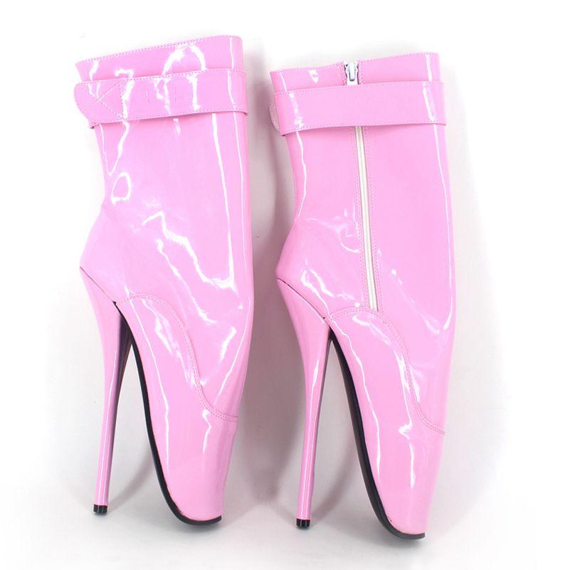 2017 Preto Womne Ankle Boots Zipper Salto Alto Bota de Dança Ballet Botas de Couro de Patente 18 CM Salto Fahion Botas de Festa Plus Size Sapatos