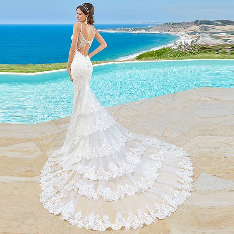 Luxury Long Fishtail Mermaid Crystal Lace Wedding Dresses 2017 With ...