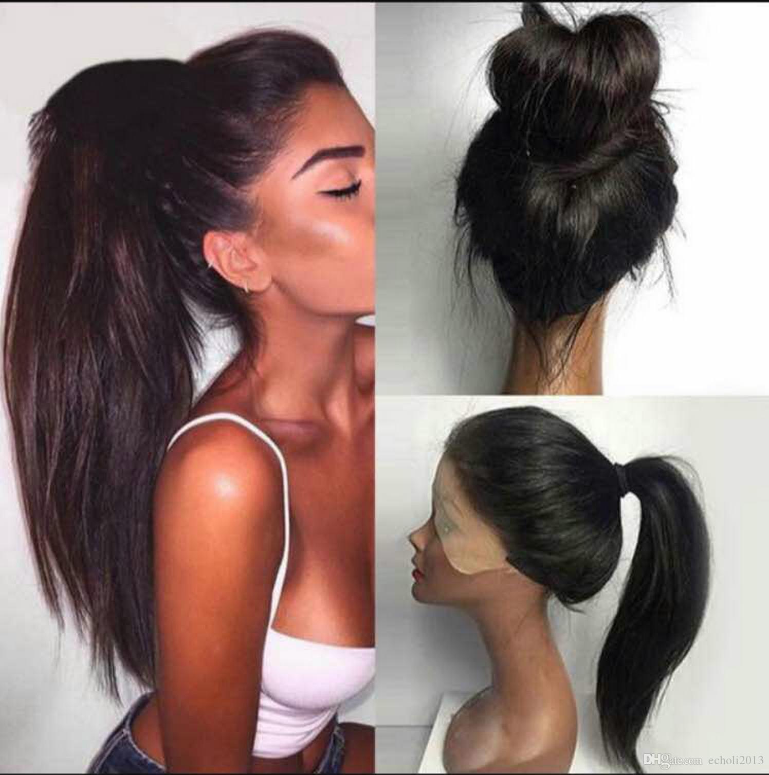 Echo Long Sleek Ponytail Human Hair Women Straight Clip