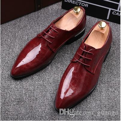 9f86315f0 2018 NEW Fashion Black Red Genuine Leather Men Dress Shoes
