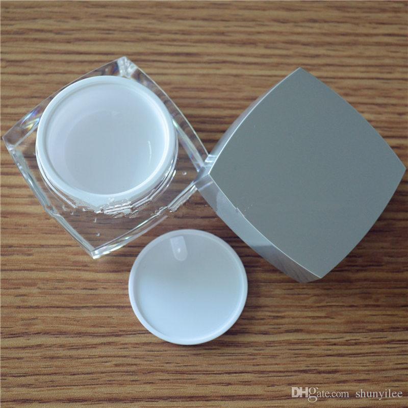 5g 10g 15g 30g 50g 50g bianco acrilico quadrato cosmetico imballaggio bottiglia con coperchio in argento, crema scatola / bottiglia F20171206