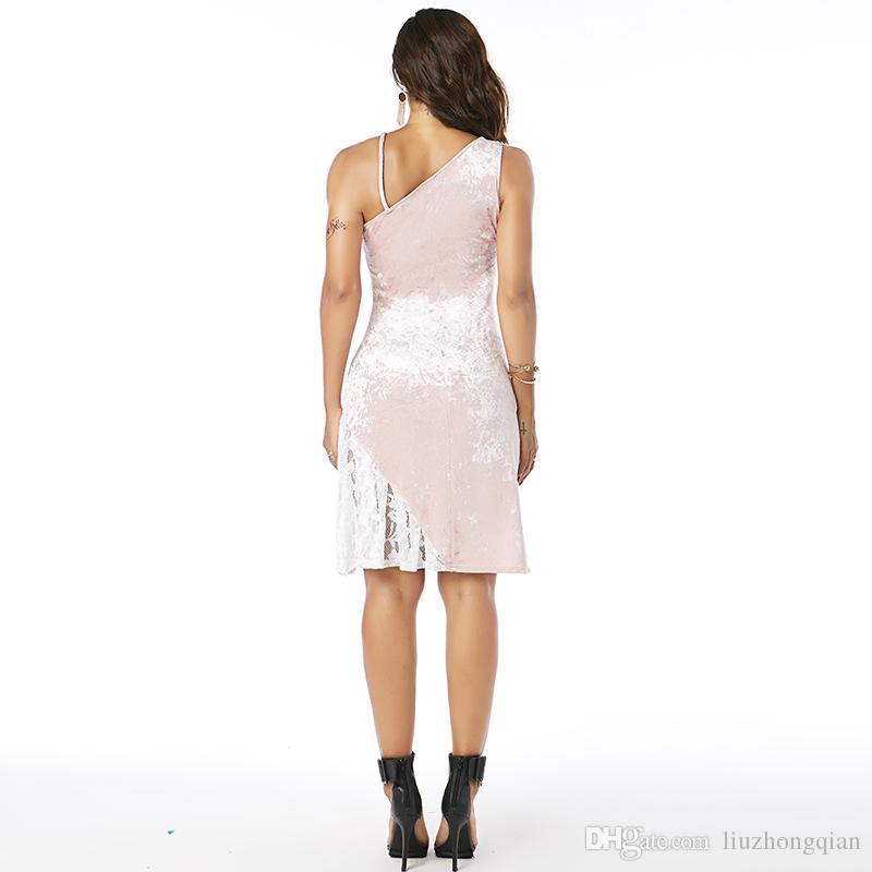 Beauty Garden Women Fashion Slash Neck Sleeveless Splice Velvet Lace Pencil Knee Length Pink Elegant Party Dresses