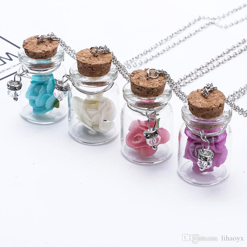 Europe et les États-Unis plage rose rose mode dérive bouteille pendentifs lanternes verre pot collier bijoux des femmes J001