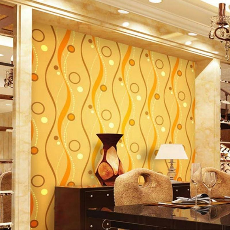 Wholesale Modern Metallic Gold Foil Wall Paper 3d Curve Lines Circle Waterproof Wallpaper For Living Room Bedroom Tv Background Decoration