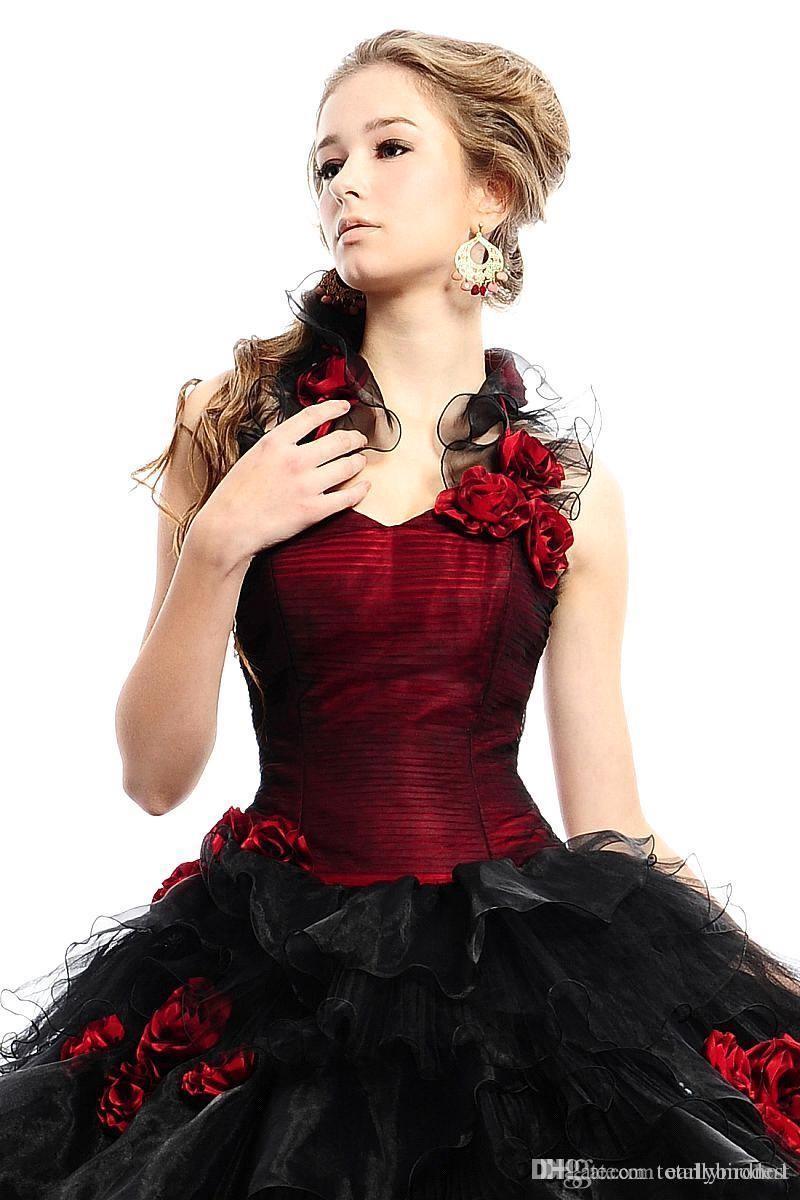 Vintage Bianco e Rosso Borgogna gotica Abiti da sposa con giacca a due toni Puffy palla abito a file del Organza colorato Abiti da sposa su ordine