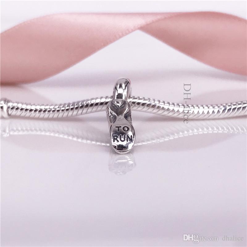 Factory Wholesale Authentic 925 Sterling Silve Bead Running Shoe Pendant With Clear Cubic Zirconia Fit Wmomen DIY Bracelet ewellery 792063CZ