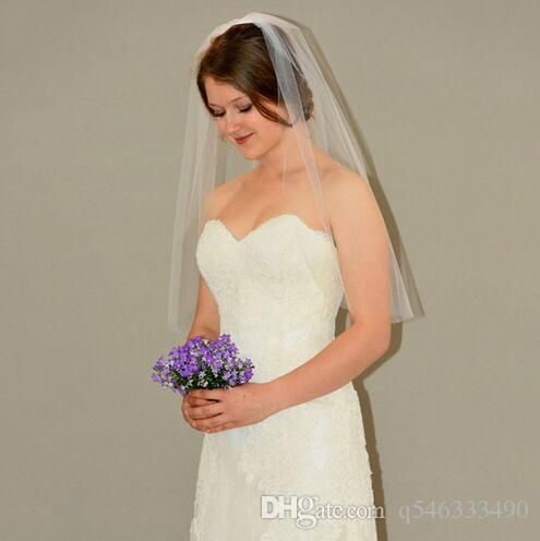 Veu De Noiva Katman bir Beyaz Fildişi Kesim Düğün Peçe Tarak Ile 30