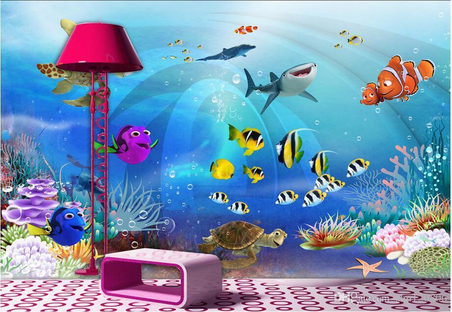 Papel tapiz 3D personalizado foto mural mar mundo habitación de los niños decoración del paisaje pintura murales de pared 3d papel tapiz para paredes 3 d sala de estar