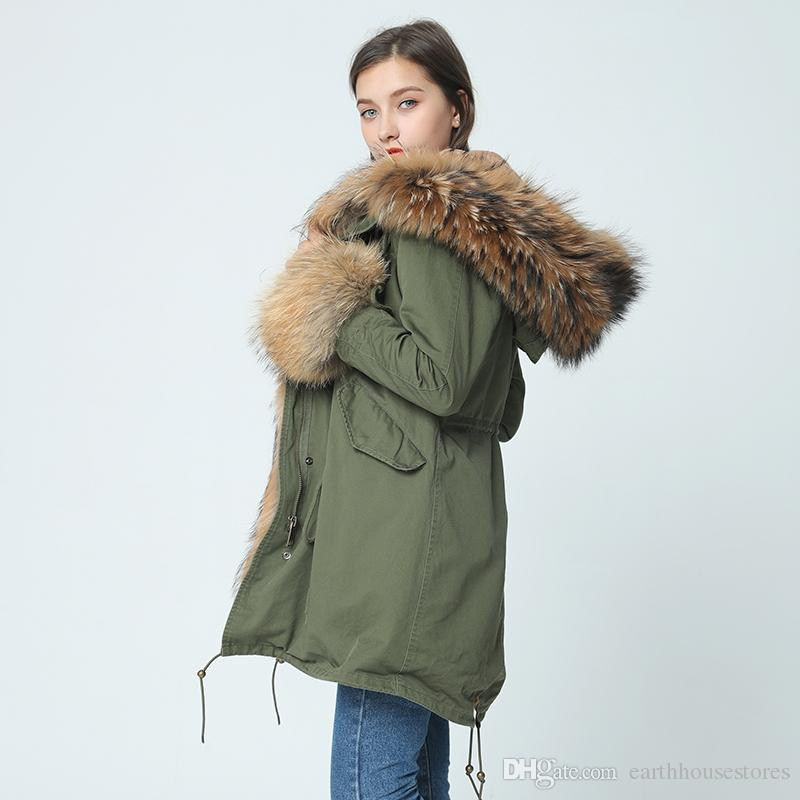 cfcfc1b1fd8a0 2019 Fur Parka Winter Jacket Women Winter Coat Women Parkas Big Real  Raccoon Fur Collar And Natural Cuff Fur Detachable From Earthhousestores