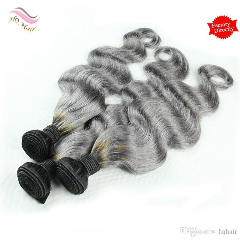 7A Ombre Human Hair Weave Bundles Two Tone 1B/Grey Body Wave Brazilian Peruvian Malaysian Indian Cambodian Virgin Hair Extension