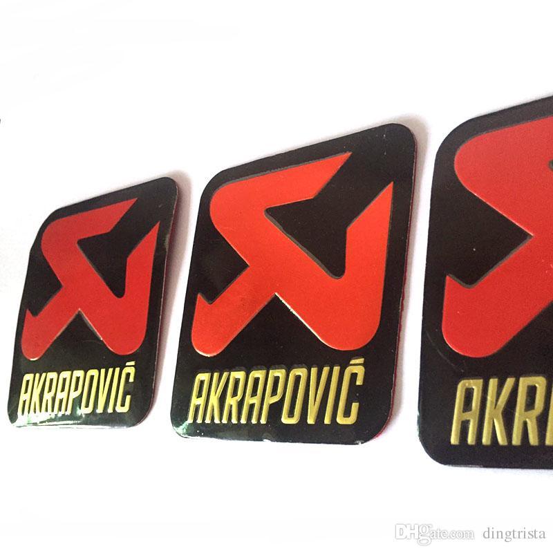 TKOSM 3 шт. / лот универсальный 70x85 мм алюминиевый 3D этикетки наклейки Akrapovic выхлопной глушитель наклейки глушитель наклейки для мотоциклов