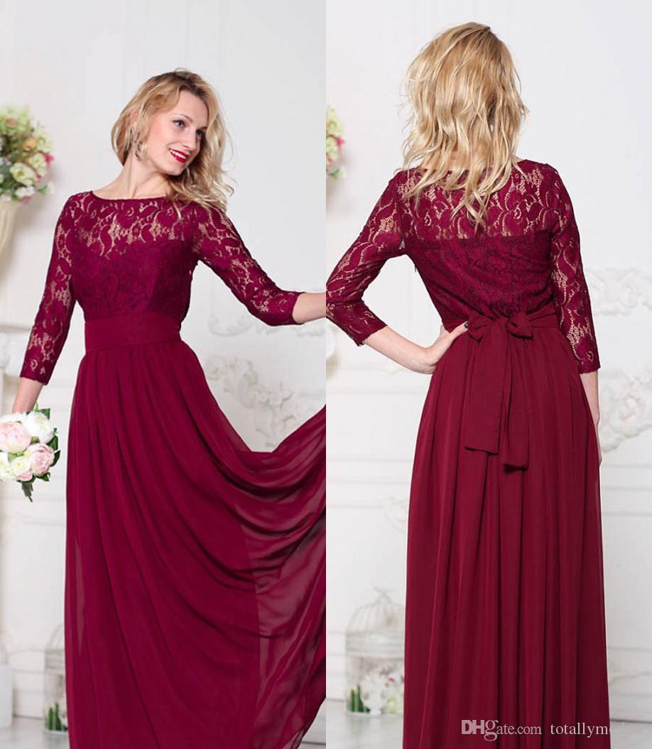 e75a2de0a01 Dark Red Lace Chiffon Modest Bridesmaid Dresses Long With 34 Sleeves Sashes  A Line Floor Length Country Style Brides Maid Dresses Custom Blue Bridesmaid  ...