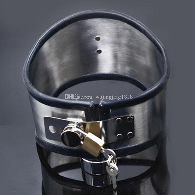 Silicone Liner Stainless Steel Slave Collar Bondage Restraints Harness BDSM Sex Adult Game Sex Toys For Women Men