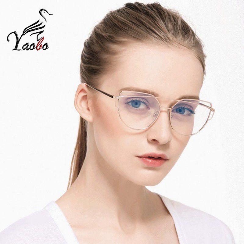 c8bee9bb34 Yaobo Cat Eye Glasses Frame Women Brand Designer Twin-Beams Metal ...