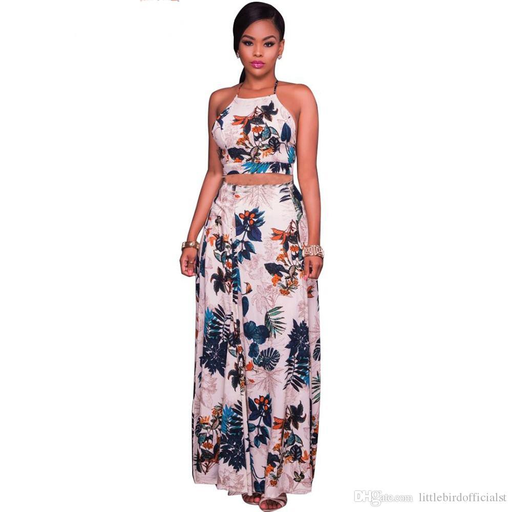 0e795e80f Moda para mujer Elegante Sin respaldo Conjunto de dos piezas Vestido de  fiesta de noche Verano Estampado floral Tops y falda larga Conjunto