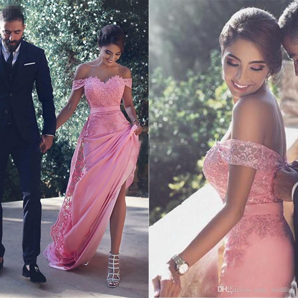 Compre Vestidos De Dama De Honor Sexy Fuera Del Hombro Largo Con ...