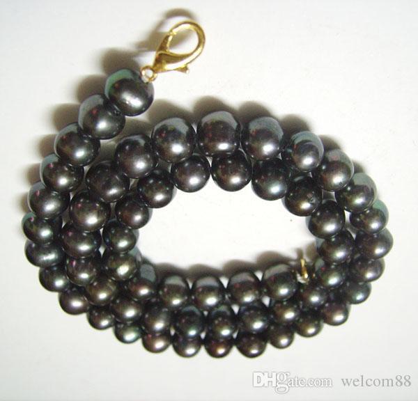 10 шт./лот черный круглый пресноводный жемчуг мода ожерелье карабинчиком 16 дюймов для DIY Craft ювелирные изделия Gfit Бесплатная доставка P5