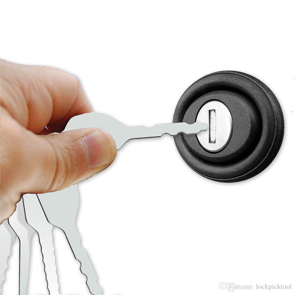 10 adet Jiggler Tuşları Kilit Seçim Set Çift Taraflı Kilit Seçim Araçları Araba Kilitleri Açılış Aracı Kiti Oto Çilingir Aracı