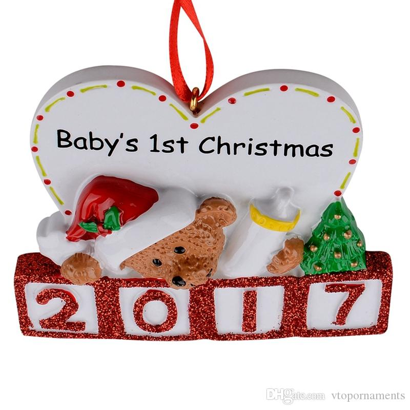 Maxora 2016 Bear Baby 1st Glitter Resin Personalized Christmas Tree Ornament Free Write Name As Craft Souvenir Special Gifts Home Decor