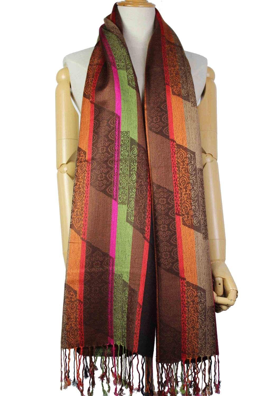 bad621d06c6d0 No Brand Women Jacquard Paisley Stripes Acrylic Viscose Blend ...