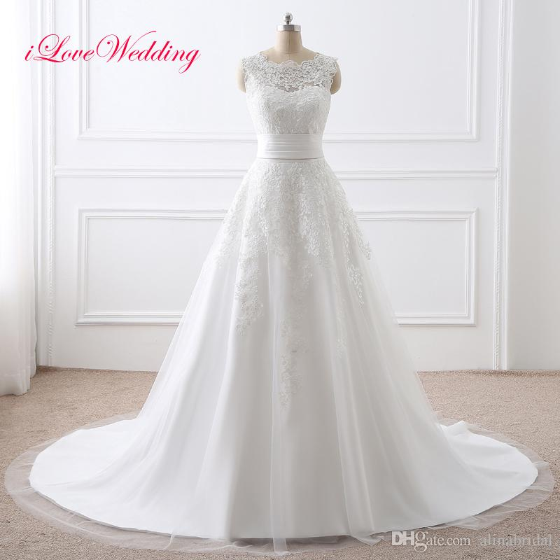 Discount 2018 Wedding Dresses With Detachable Skirt Cheap