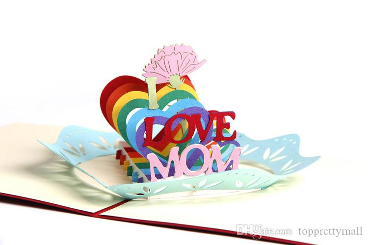 3D Pop Up Greeting Cards Peony Birthday Valentine I LOVE MOM Mother Day &Birthday Good Quality Festival Card Whosale DHL 5days arrive