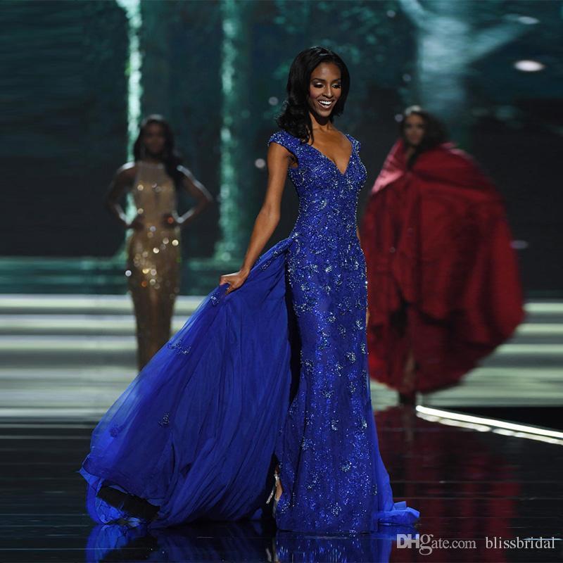 En gros Dubaï Superbe Cristal Perlé Applique Robes De Soirée À Vendre Avec Détachable Royal Blue Bal Robes