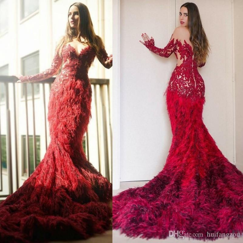 Luxury Red Feather Mermaid Evening Gowns V Neck Long Sleeves ...
