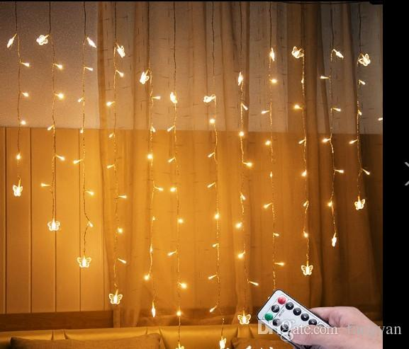 2M * 1.6M150 leds heart-shaped butterfly Clip lights remote control girl heart marriage table white birthday wedding LED flash string lights