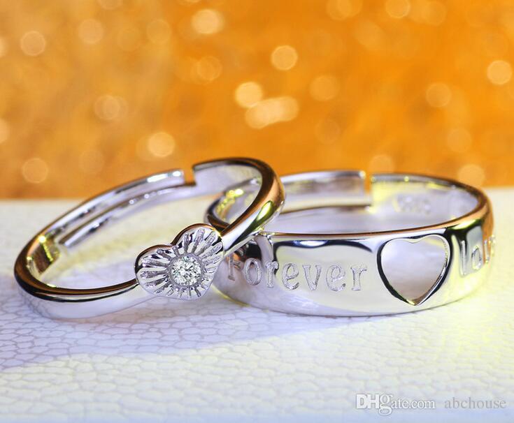 Moda 925 ayar Gümüş 30% Beyaz ALTıN kaplama Sonsuza Aşk Düğün Taş Çift Yüzük 30 adet Ücretsiz Kargo