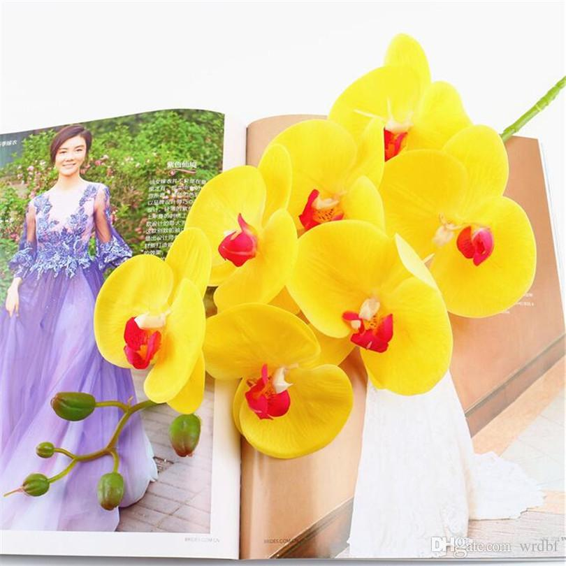5p PU Moth Orchidées À La Recherche Naturelle Phalaenopsis Orchidée Real Touch Orchidée Fleur pour la Fête De Mariage Fleurs Artificielles Décoratives