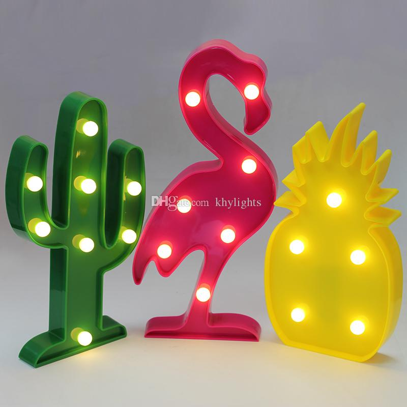 3D LED Night Light Flamingo Pineapple Cactus Night Lamp Romantic Table Lamp Marquee Home Christmas Decor Battery LED Nightlight