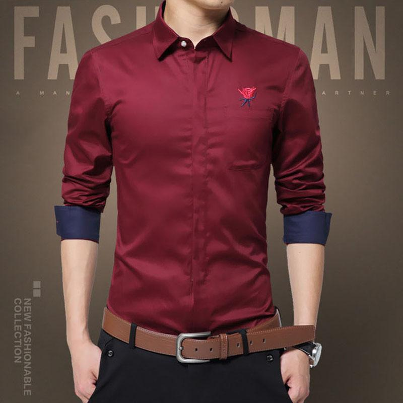 04e05cc3d2 Wholesale- Men s Plus Size Slim Fit Shirts 2017 Spring Fashion ...
