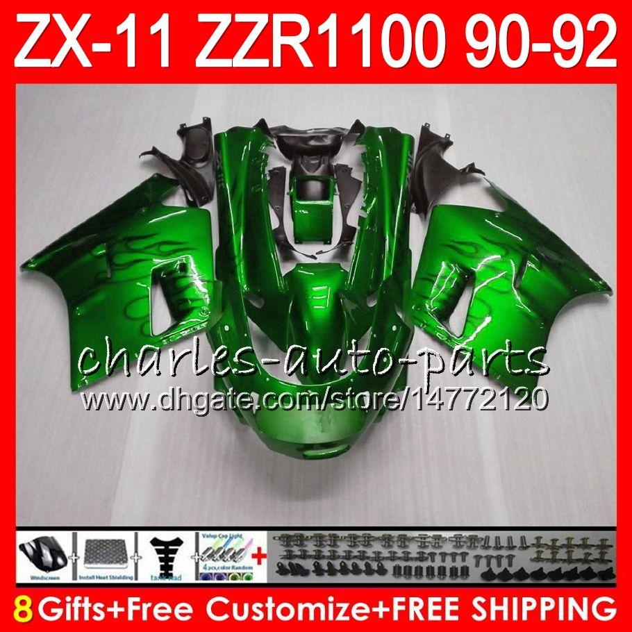 8Geschenke 23 Farben Für KAWASAKI NINJA ZX11 ZX11R 90 91 92 ZZR 1100 glänzend grün 21HM10 ZX11 11R ZZR1100 ZX-11R ZX-11 1990 1991 1992 Verkleidungssatz