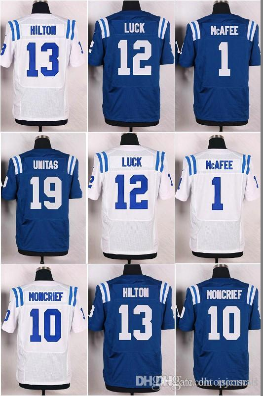 ... 2017 MenS 1 Pat Mcafee Elite Royal Blue Jerseys 10 Donte Moncrief White  Jerseys 12 Andrew Nike Mens Away Game Jersey Indianapolis Colts ... bd9100737