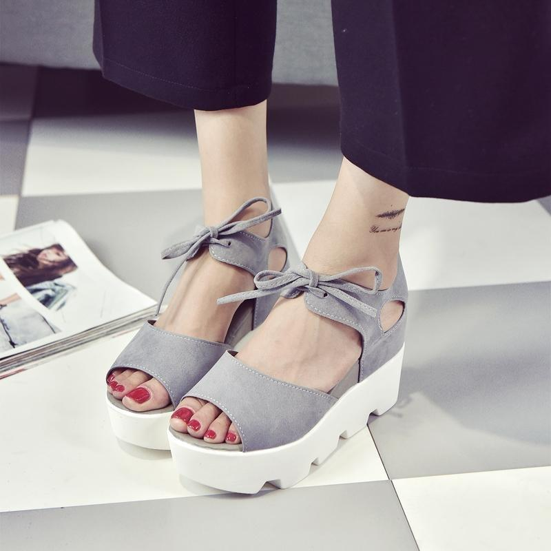 9f4b7cea31e1 Women Fashion Korean Style Flat Sandals Thick Bottom Platform Shoes Casual  Shoes With Grey Color Good Choose For Girls Brown Wedges Gold Wedges From  ...