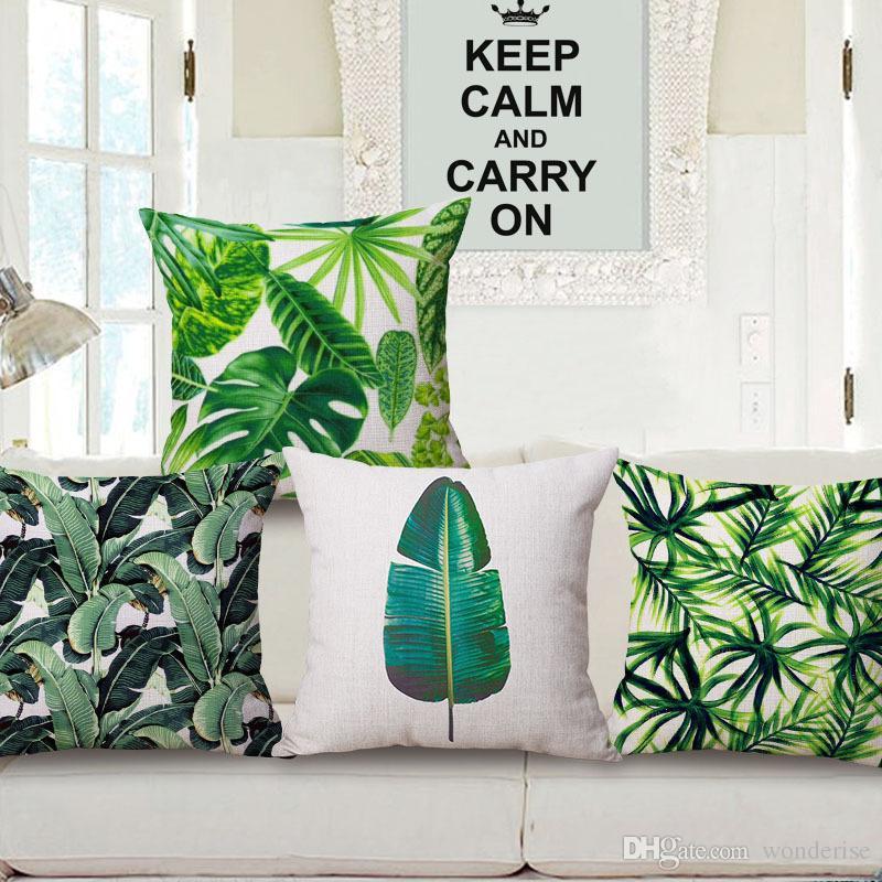 5 أنماط النباتات الاستوائية أوراق خضراء وسادة تغطي النباتية الصيف ورقة الفن غطاء وسادة الزخرفية الكتان وسادة القضية