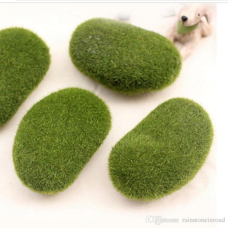 100 adet Köpük 5 cm Yapay Moss Rocks Düğün Ev Mobilya Dekor için Bonsai Çiçek Vazo Yeşil FL5203