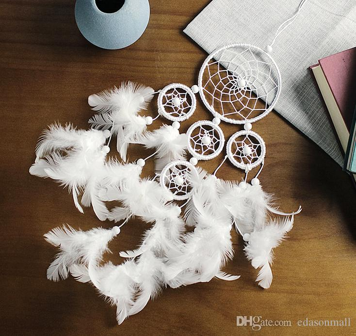 Dream Catcher Pure White Dreamcatcher Five Circle Feather Wall Hanging Wind Chimes Bead Hanging Decoration Ornament Gift B950LR
