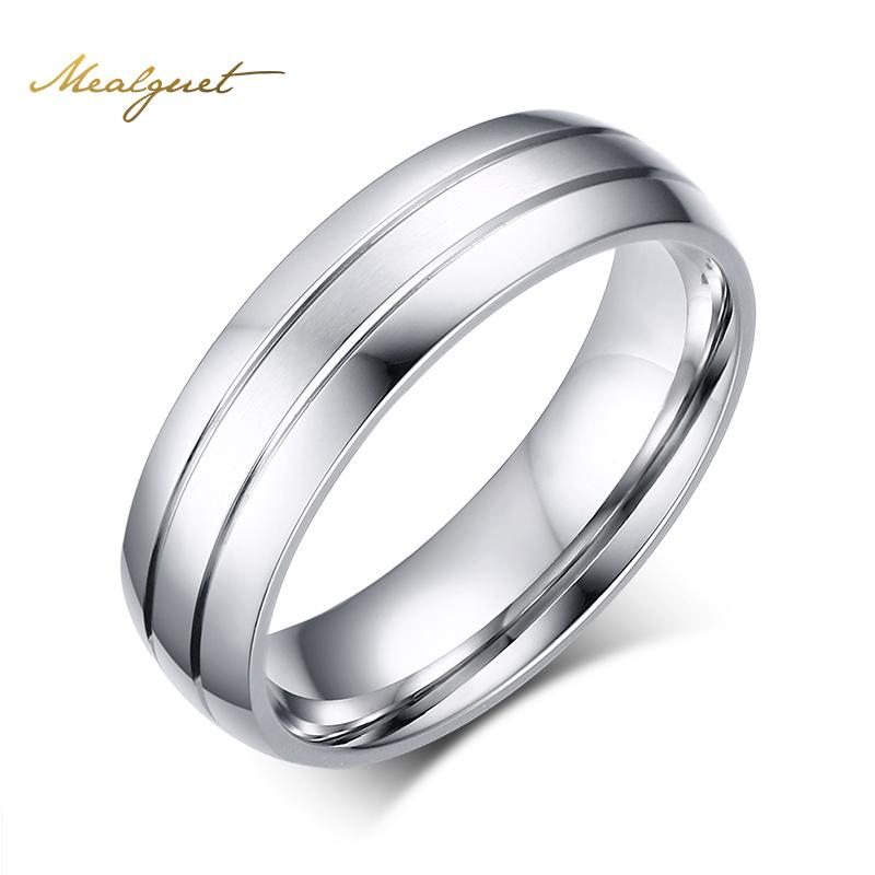 Meaeguet Fashion Stainless Steel Rings Simple Design Men Wedding