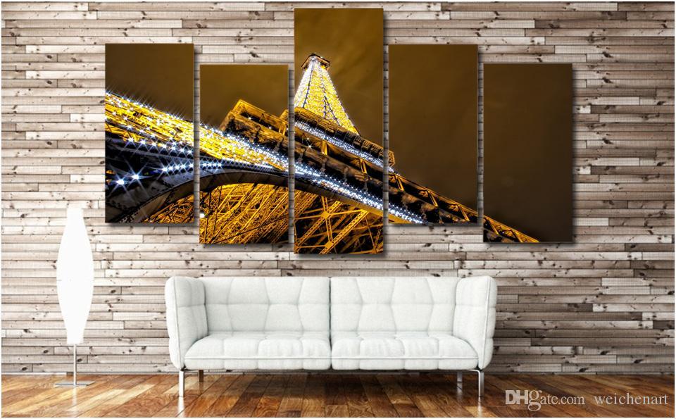 5 Paneli HD Baskılı Paris Kule Gece Manzara Poster Resim Tuval Wall Art Painting Baskı Tuval Dekorasyon On Boyama